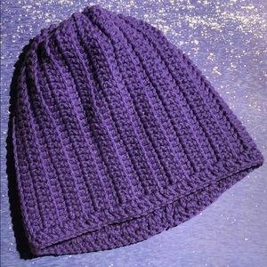 Purple beanie hat unisex adult or teen